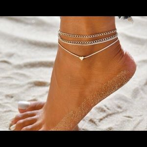 New Layered Heart Silver Anklet